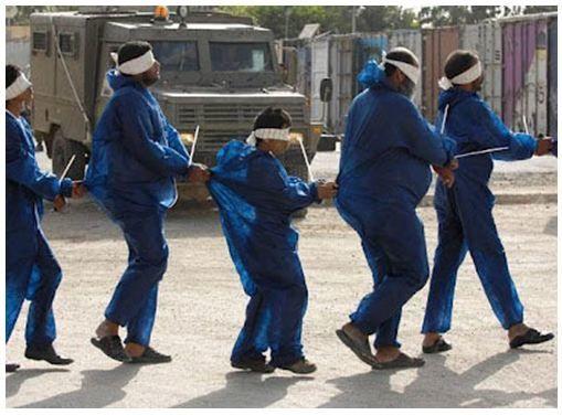 Israël : encore en 2012, c'est toujours le traitement des prisonniers palestiniens (dont un enfant) - Photo A. COHEN / REUTERS publiée sur le site ISM-France : http://www.ism-france.org/photos/enfants-prisonniers-010712.jpg