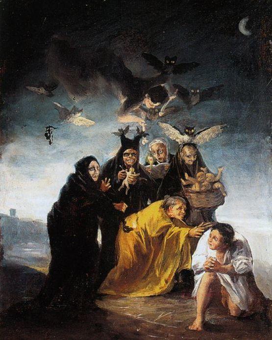 Goya, La Conjuration (Les Sorcières), 1797-1798 Huile sur toile - 43 x 30 cm Madrid, Fundación Lázaro Galdiano / Photo : Fundación Lázaro Galdiano Expositions : Strasbourg, Musée d'Art moderne et contemporain, du 8 octobre 2011 au 12 février 2012. - Berne, Zentrum Paul Klee, du 31 mars au 15 juillet 2012.