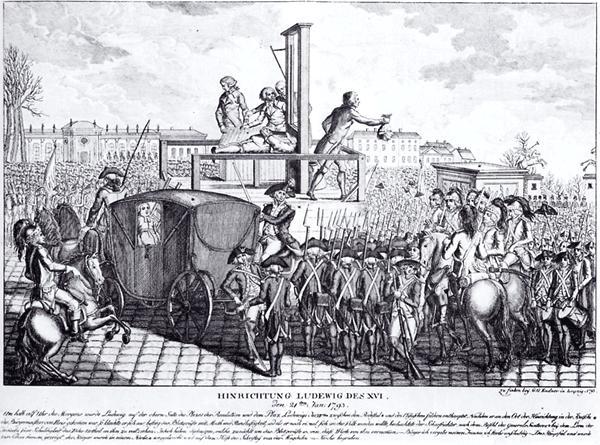 Hinrichtung Ludwig des XVI - Gravure allemande sur cuivre, 1793, de l'exécution du Roi Louis XVI