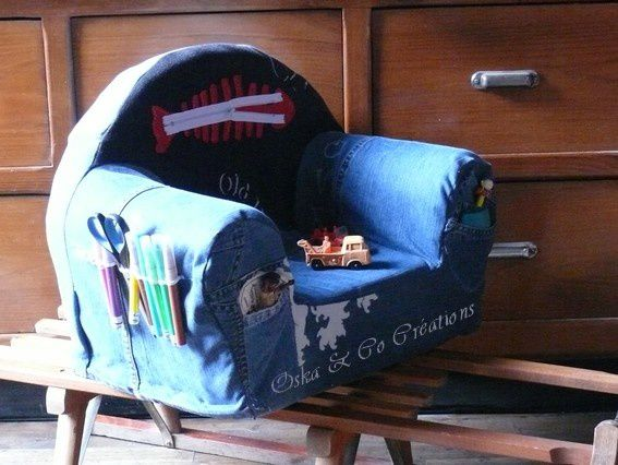 housse de fauteuil club en patchwork de jeans oska co. Black Bedroom Furniture Sets. Home Design Ideas