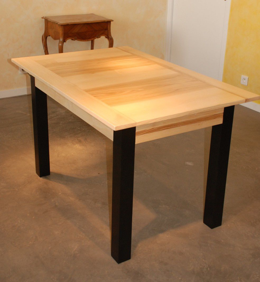 Table manger contemporaine en fr ne rallonges - Table bois massif avec rallonge ...