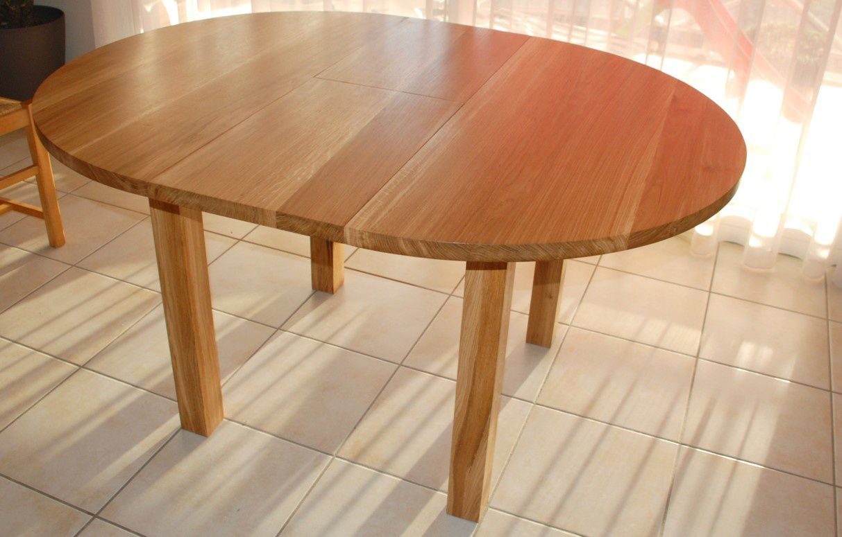 Table ronde contemporaine en ch ne huil atelier - Table bois ronde avec rallonge ...