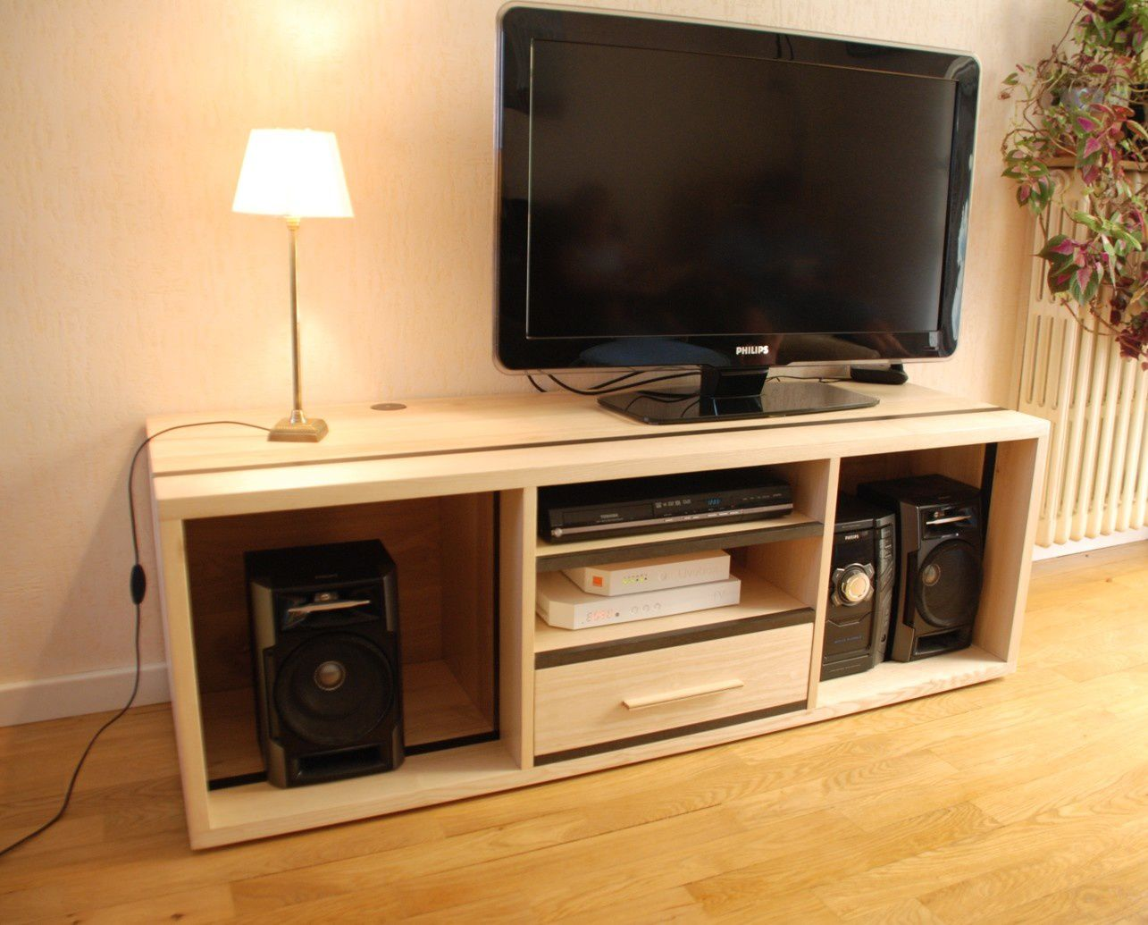 Meuble tv hifi contemporain en fr ne et valchromat gris - Meuble tv multimedia ...