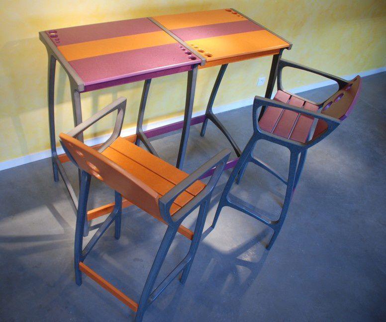 Table haute BullE design Valchromat pour terrasse et jardin ...