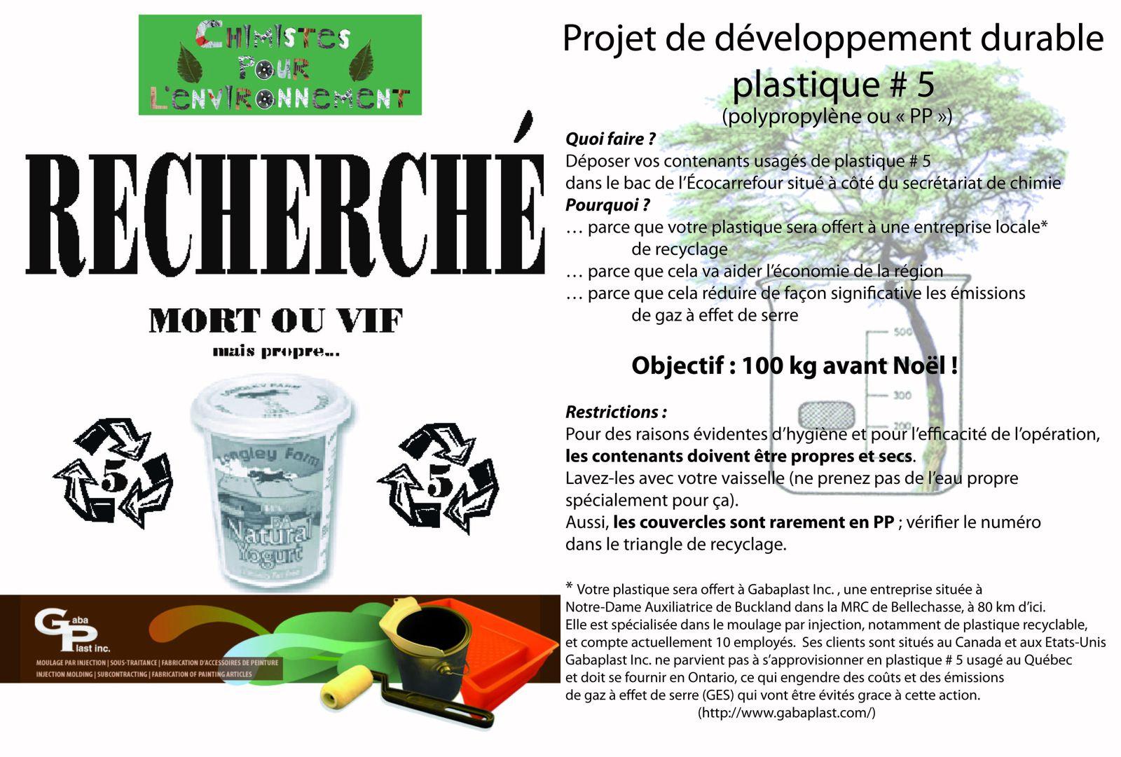 Affiche des Chimistes pour l'environnement - Programme de cueillette de plastique #5 (polypropylène ou pp)