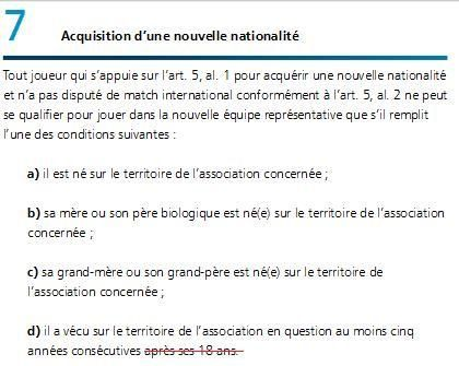 Acquisition d'une nouvelle nationalité article 7 FIFA