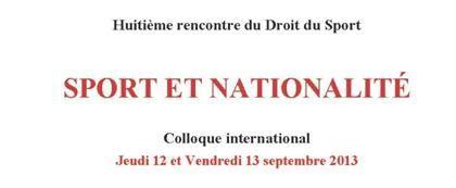 Colloque Sport et nationalité LDS 12 13 septembre 2013