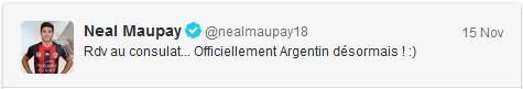 Neal Maupay tweet Officiellement Argentin 15 nov 2013