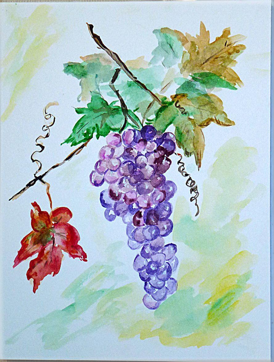 Peinture aquarelle la grappe de raisin loisirs et culture for Paysage peinture