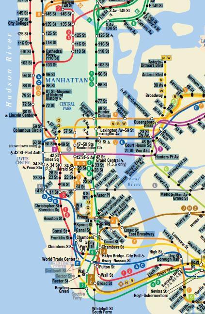 New-York : Carte-du-Métro-Manhattan