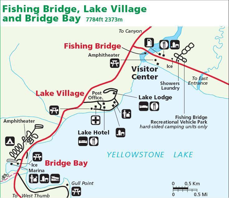 Yellowstone carte Fishing Bridge et Lake Village