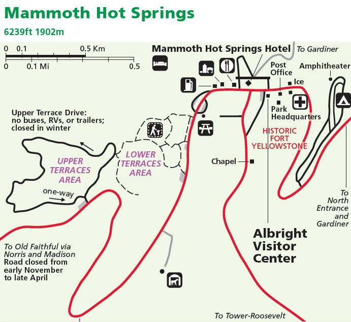carte de Yellowstone Mammoth Hot Springs