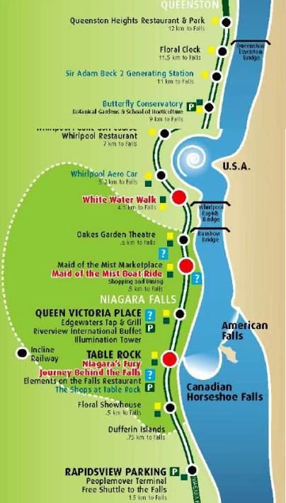Niagara Falls carte des attractions canadiennes