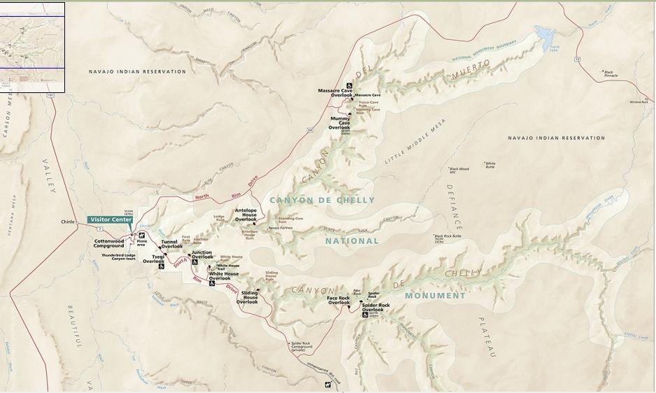 Canyon de Chelly NP carte