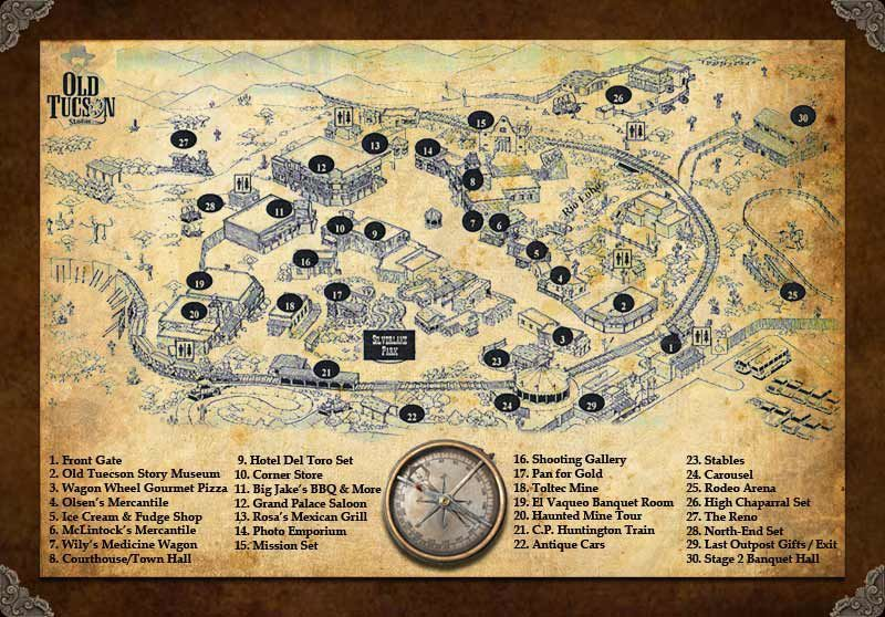 Old Tucson Studios map