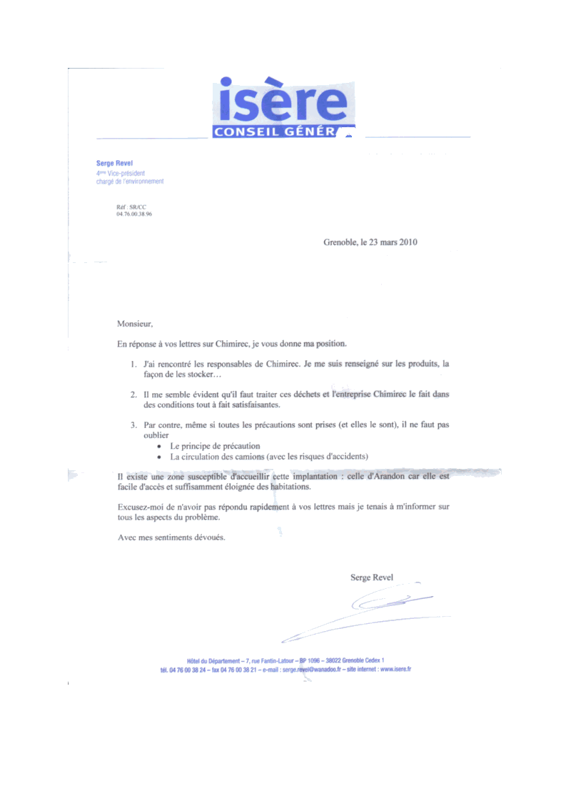 lettre Revel réponse CHIMIREC à un de nos membres