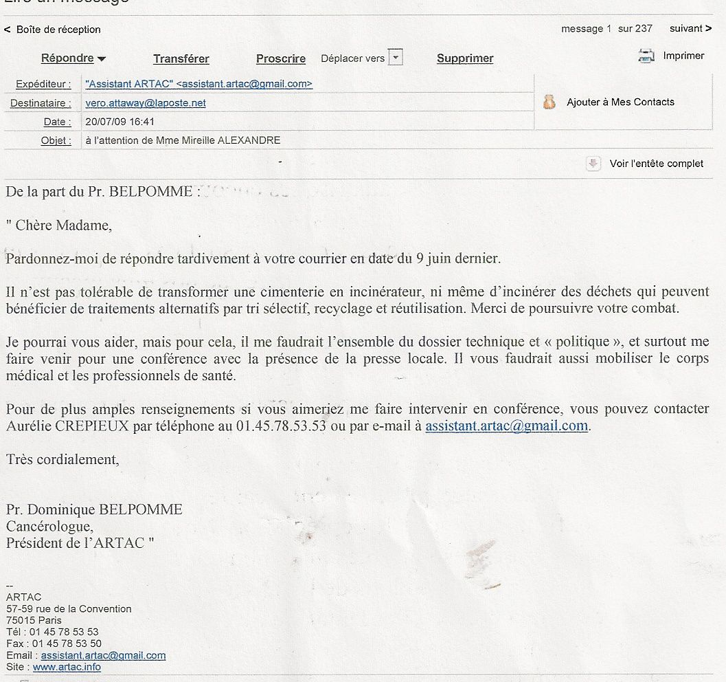 E mail re u l 39 association du professeur belpomme canc rologue de l 39 artac blog de sans nature - La redoute contact mail ...