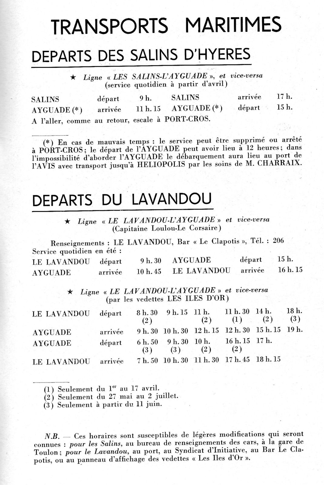 les horaires des vedettes en 1957 pour un port s curis. Black Bedroom Furniture Sets. Home Design Ideas