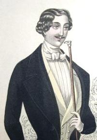1845 élégant avec sa canne