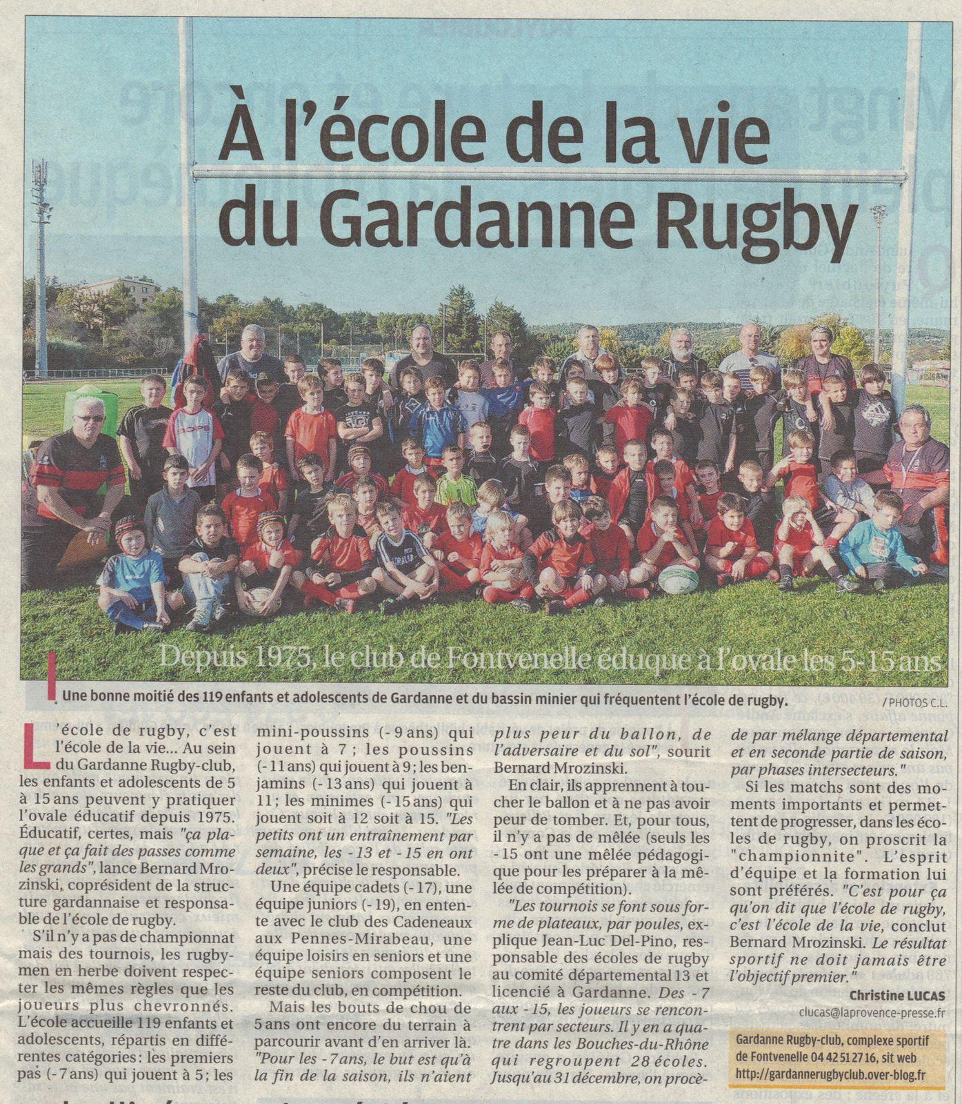 Le gardanne rugby club a l 39 honneur sur le journal la provence quo - Le journal de la provence ...