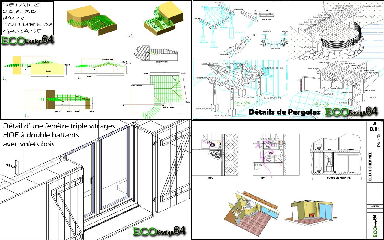 Plans techniques eco design 64 for Plans de pergola