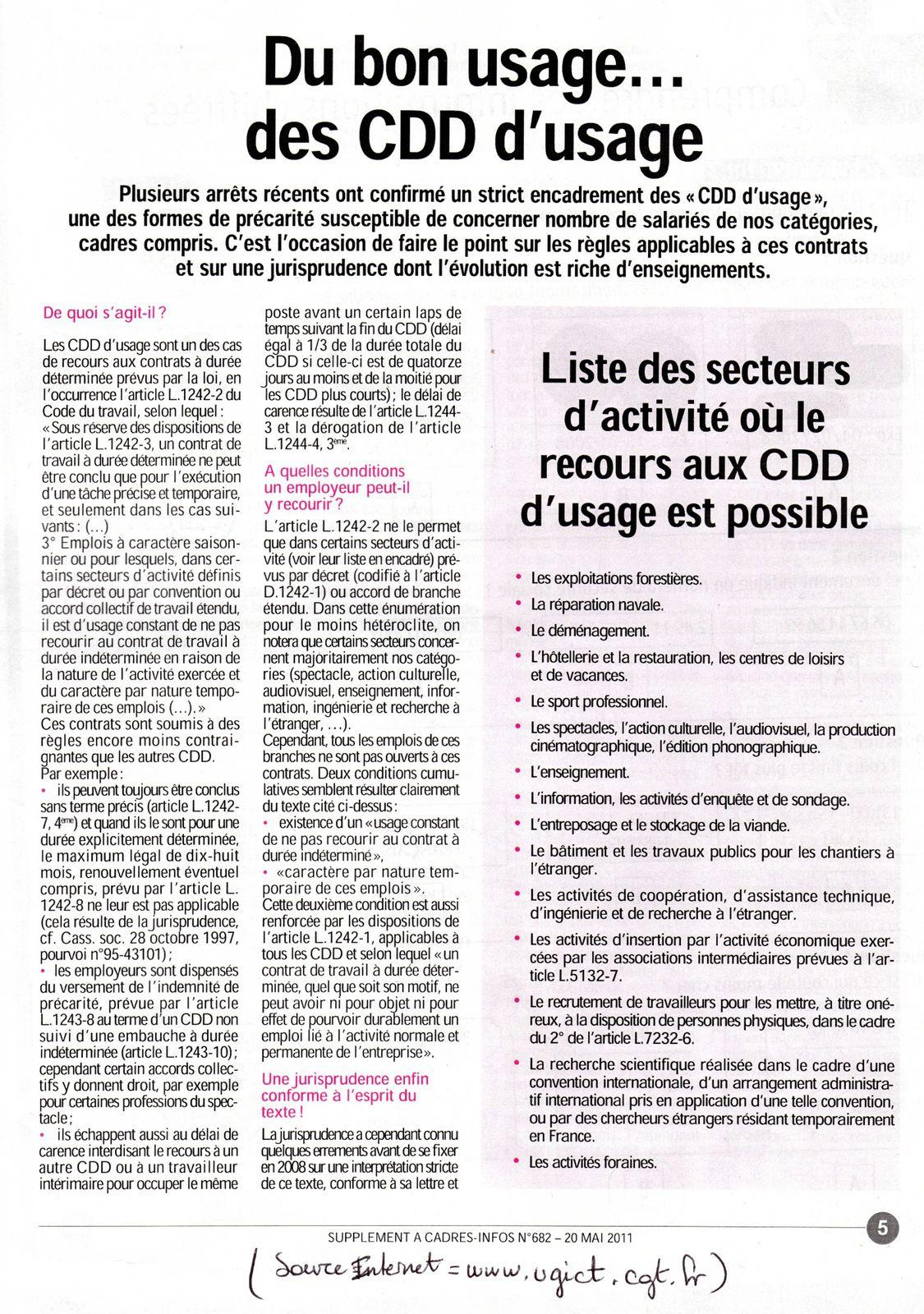 Article sur le CDD d'usage   Collectif FLE Marseille Sud Est