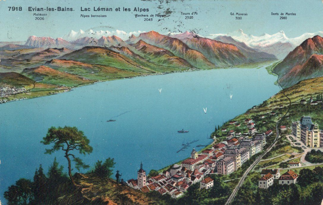 Tour du leman en cartes postales anciennes evian le for Piscine du lac tours