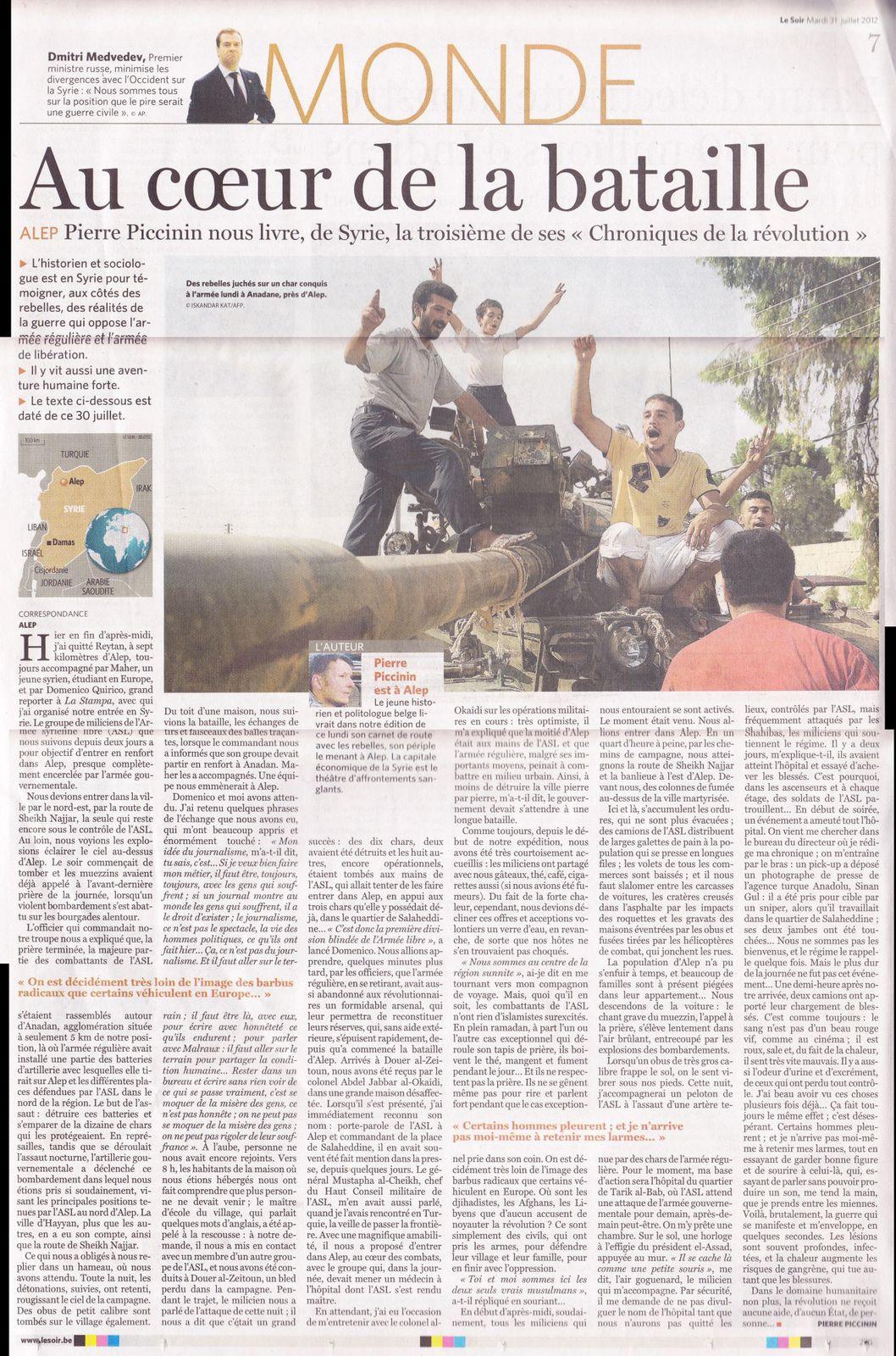 Chroniques de la rév. syrienne (Le Soir - 31 juillet 2012)