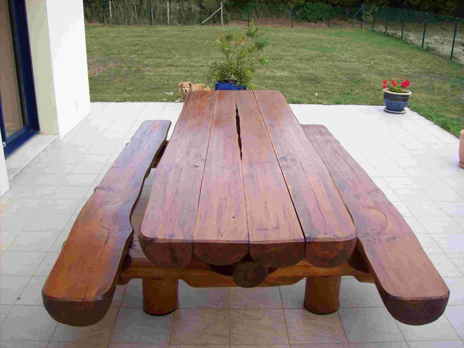 Album tables jardin rondins - Table banc exterieur ...