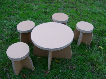 table + tabourets brut