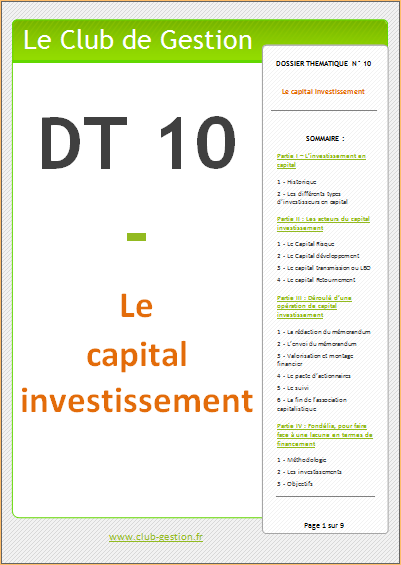 DT10 - Le capital investissement