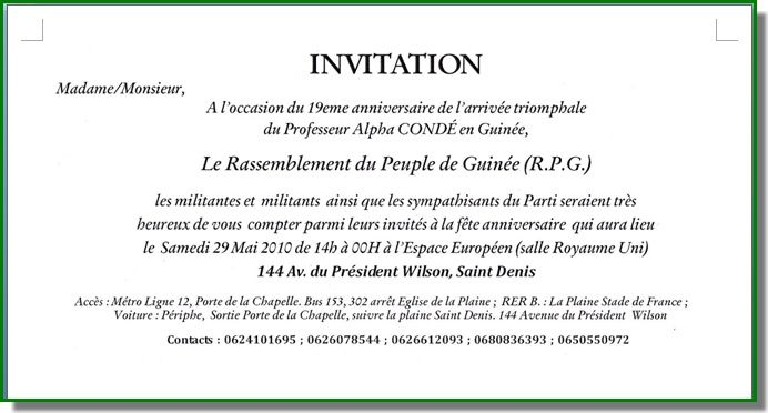 Invitation Du Rpg France Guineelibre