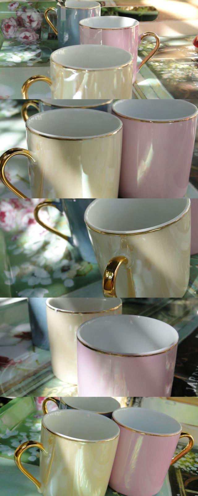tasses à café chic roses et blanc cassé