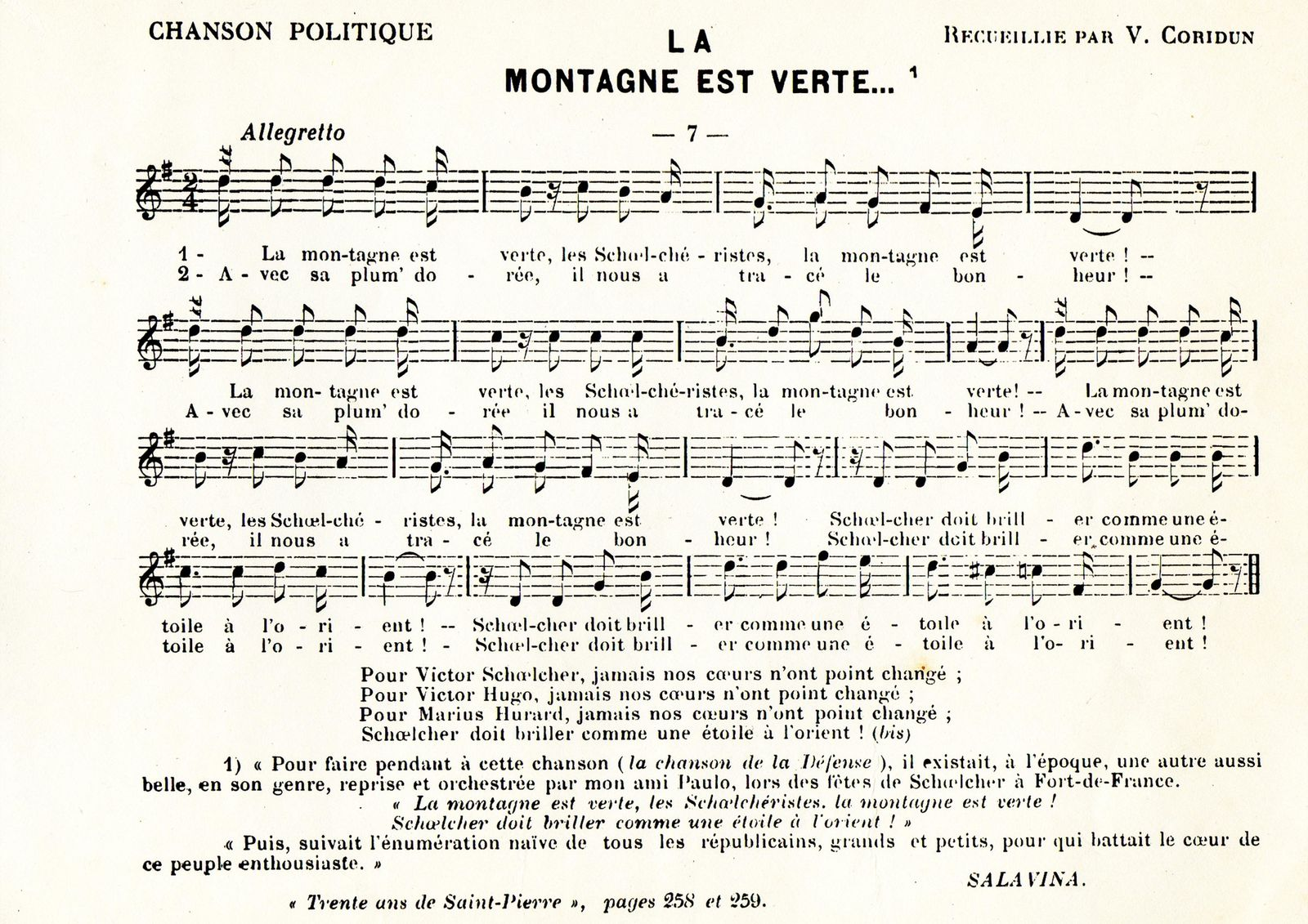 partition chant creole