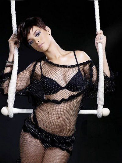 Rihanna in swinging trapeze photoshoot by Richard Grassie (