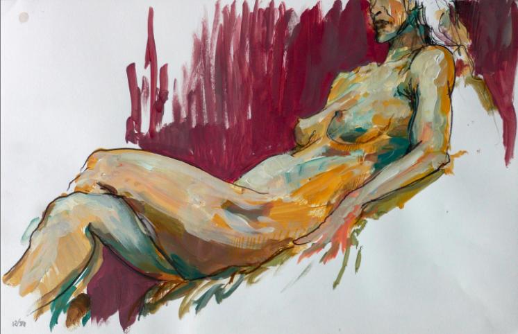 Dessins en atelier de nu. Poses de 5-20 mn. Aquarelle, crayons, acrylique, pastels aquarellables.