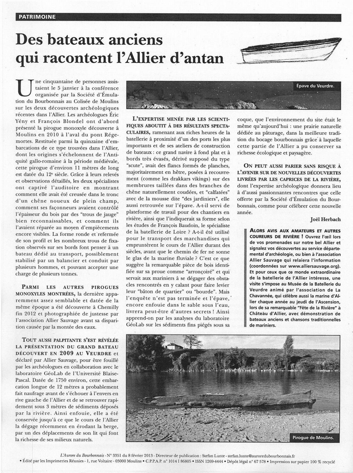 L'Aurore du Bourbonnais du 8 février 2013