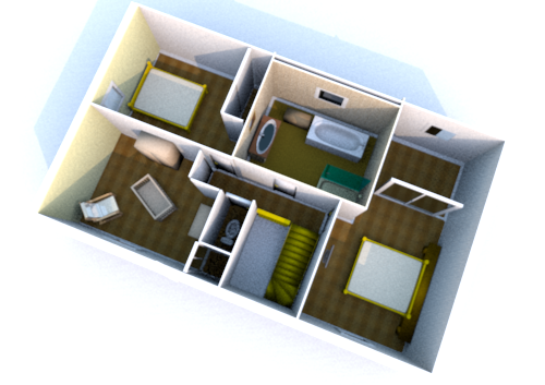 Interieur maison en 3d for Amenagement interieur 3d