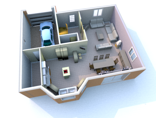 Interieur maison en 3d for Plan 3d amenagement interieur