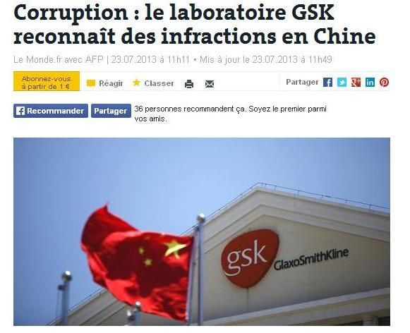 Corruption GSK, Chine