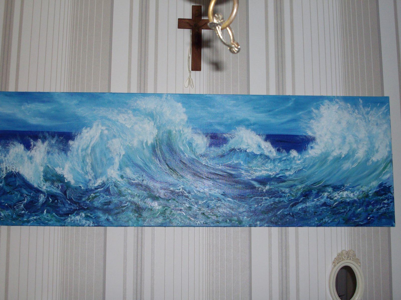 article the sea tableau peinture huile le spectacle d une mer agitee vague ecume quelle puissance energie intensite h