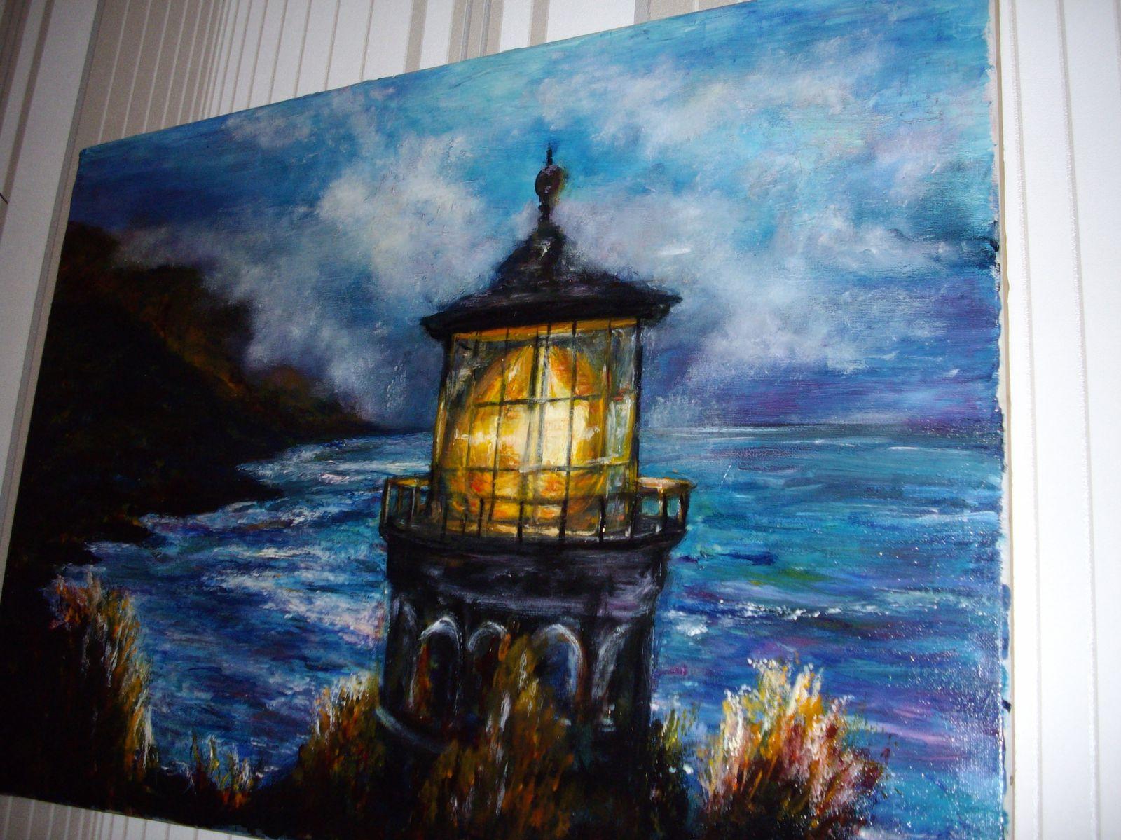 le phare tableau peinture huile une marine la nuit lumiere magique et brume le blog de. Black Bedroom Furniture Sets. Home Design Ideas