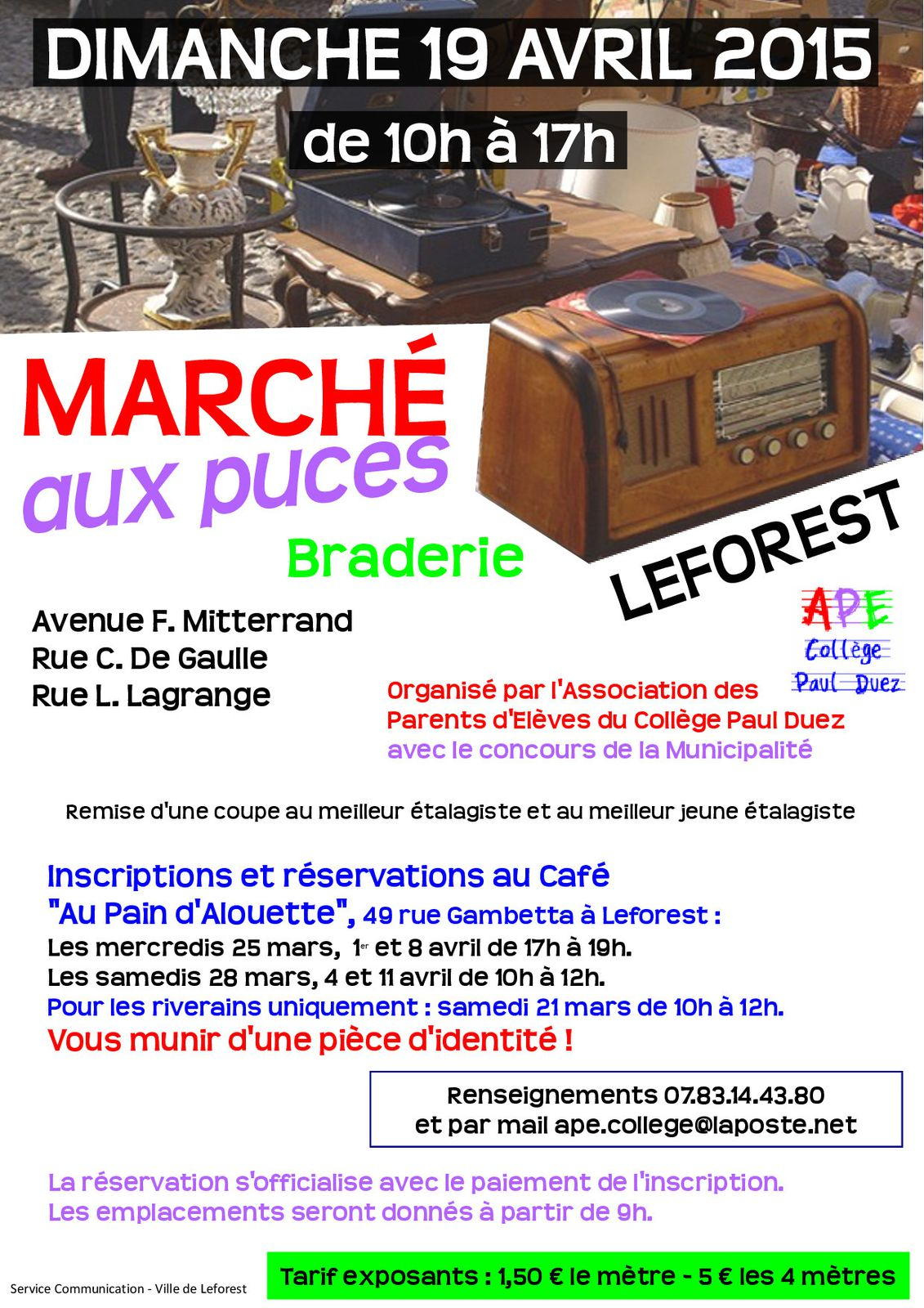 braderie march aux puces 19 avril 2015 leforest 62790 ape college paul duez leforest. Black Bedroom Furniture Sets. Home Design Ideas