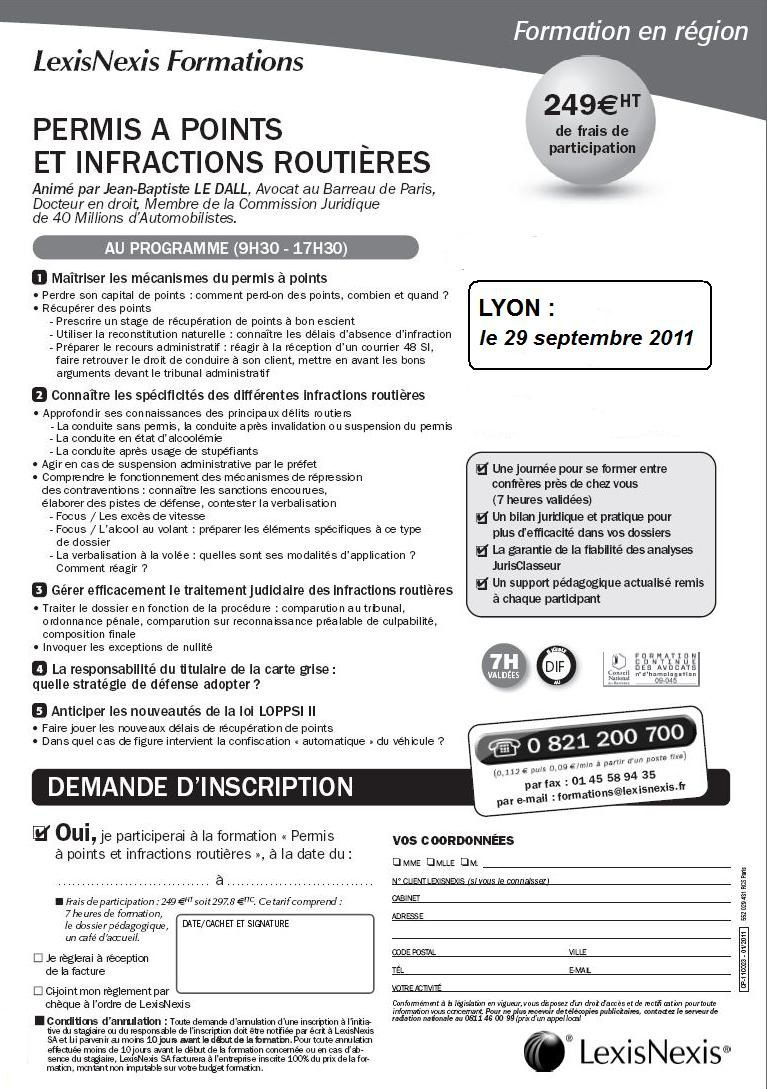 Formation avocat permis à points : Lyon 29 septembre 2011