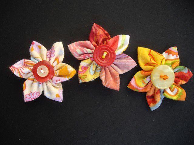 fleurs Kanzashi oranges