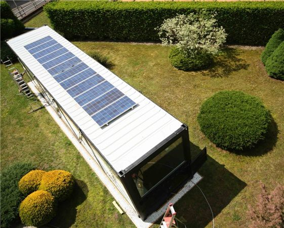Photovoltaic solar panels on container