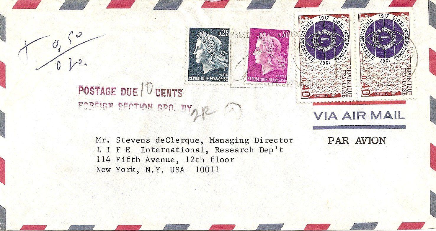 lettre usa Lettres et cartes postales pour l'étranger   La Marianne de Cheffer lettre usa