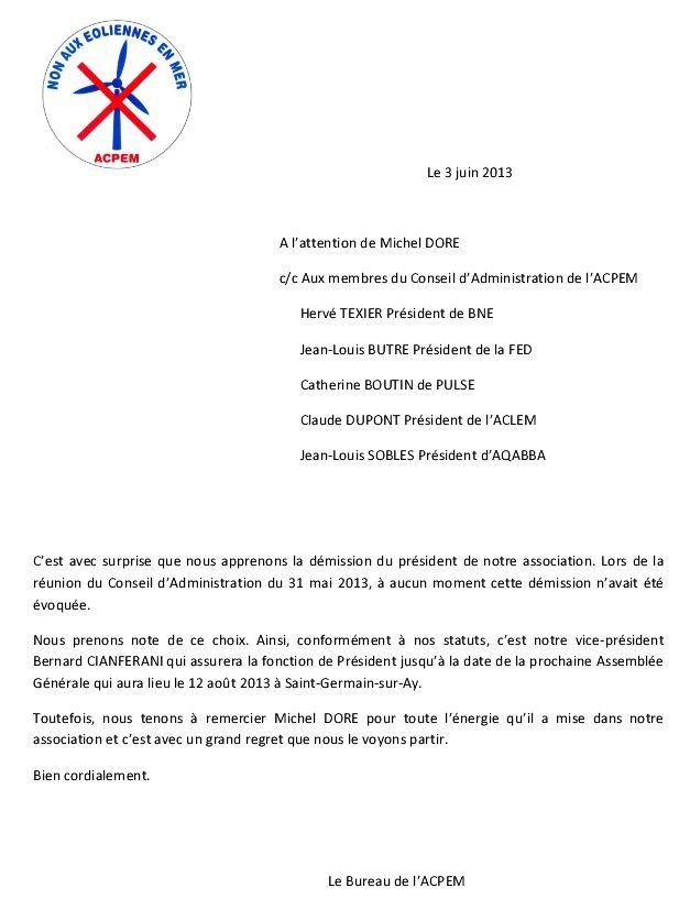 lettre de demission association vice president
