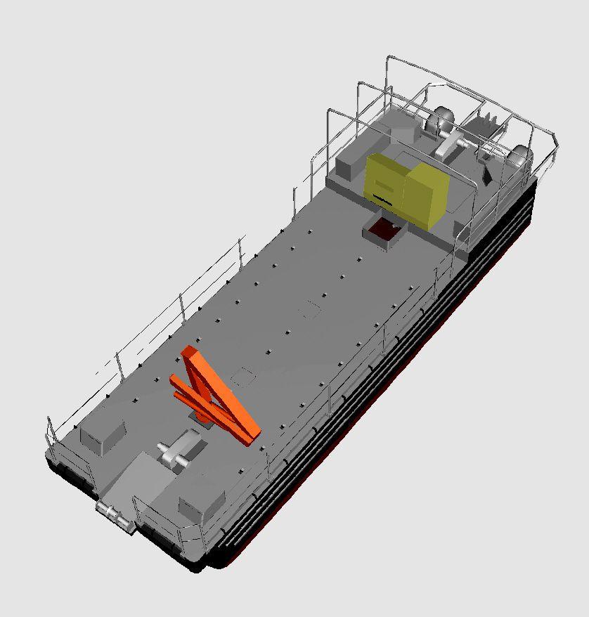 barge alu 5083 travaux sous marin avec cuve pour dragage et dépullution