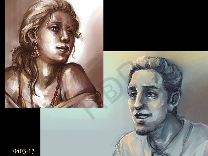Recherches, character design, speed-paintings